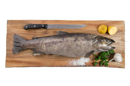 brown trout: Very high resolution picture of a brown trout on a cutting board Stock Photo
