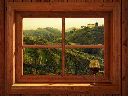 casa de campo: viñedos italianos a finales del verano en la puesta del sol
