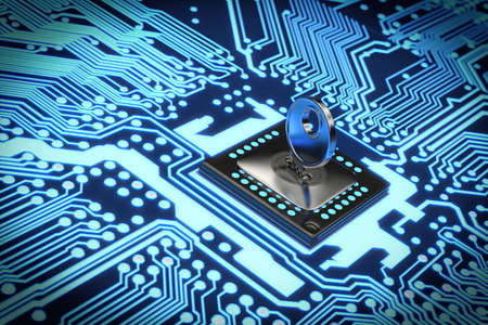 electronic circuit: Very high resolution rendering of an electronic circuit Stock Photo