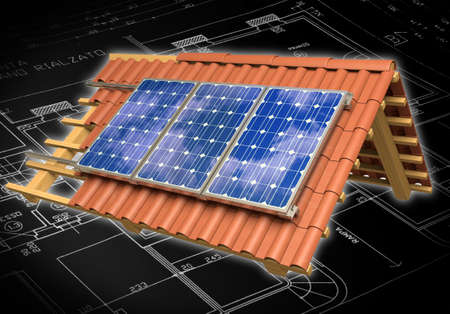 Very high resolution 3d rendering of a roof model with solar panels. 写真素材