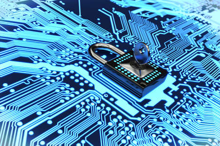 electronic circuit: Very high resolution 3D rendering of an electronic circuit Stock Photo