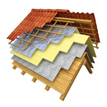 Roof section with the different insulation layers 3D rendering
