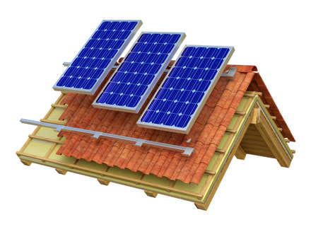 Very high resolution 3d rendering of a roof model with solar panels. Фото со стока