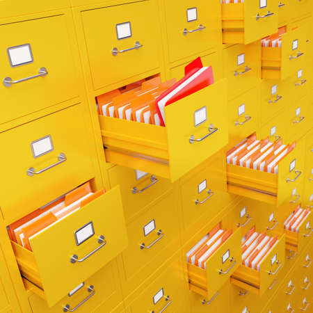 file box: Very high resolution 3D rendering of a large file cabinet