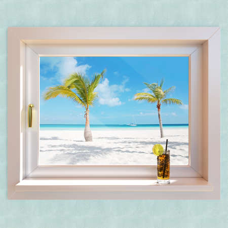 resort: Tropical paradise beach 3d illustration from a window
