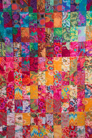 Beautiful handmade quilt flat on a plane. Can be used as a texture Zdjęcie Seryjne