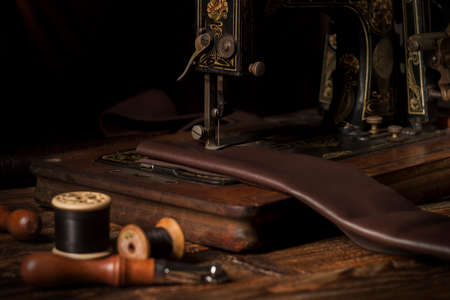 Old sewing machine and leather working tools