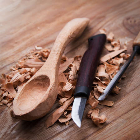 Wooden spoon carved with gouge and knife