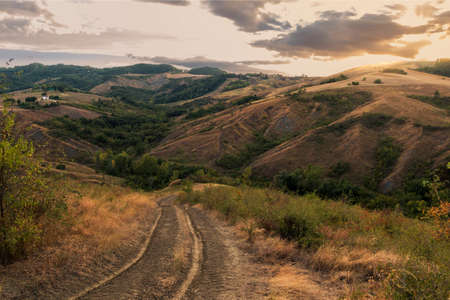 Beautiful Italian hills at sunset from Tuscany Zdjęcie Seryjne