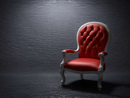spot the difference: Red armchair on a slate stone background