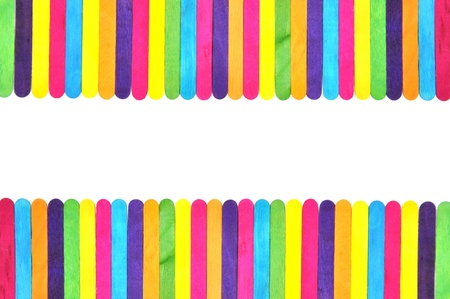 scattered on white background: frame made of colorful ice cream bar  Stock Photo