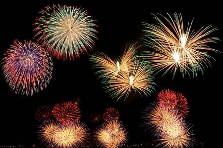 newyear night: colorful fireworks on dark background 5 Stock Photo