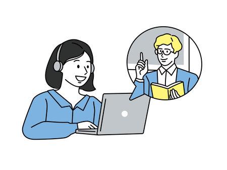 Online lesson illustrations for women . study, cram school, study, correspondence, English conversation, course, home study, qualification, job