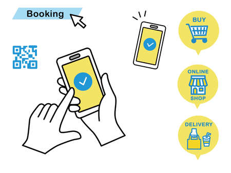 cashless_QR code payment Mobile payments Online Banking and Payment Services Flat vector Illustrations hand Vecteurs