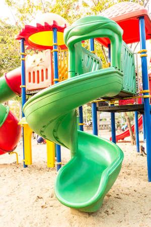 Childrens slideChildrens slide in public park photo
