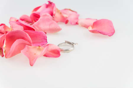 soft pedal: wedding ring with  pink rose petal on white background Stock Photo