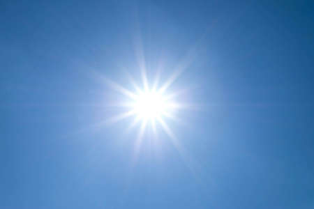 no cloud: sun shines bright in the daytime in summer.Blue sky no cloud