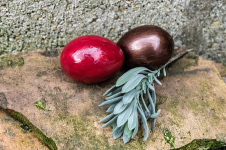 Easter eggs  with rosemarry on  stone photo