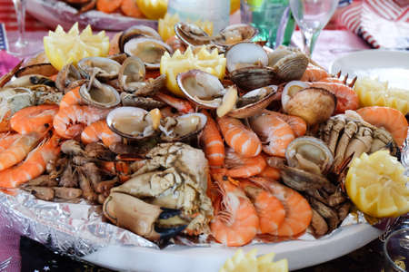 Seafood platter for party 스톡 콘텐츠
