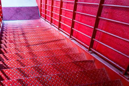 red metal: Red metal stair.