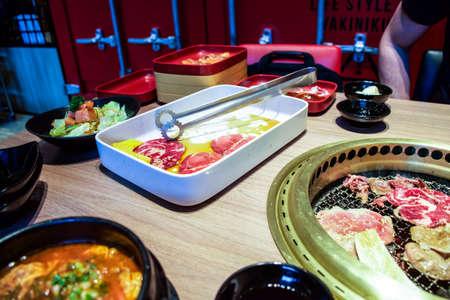 korean salad: Korean food with barbecue, soup and salad Stock Photo