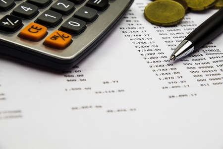 bank statement: Bank statement and pen