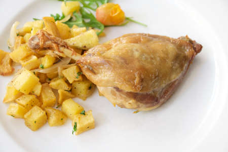 brasserie: duck confit with  potato. Stock Photo