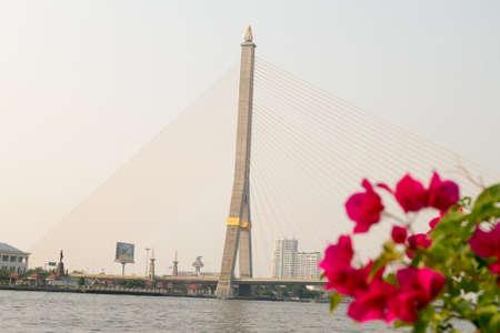 chao praya: Rama VIII Bridge in Bangkok,Thailand and the Chao Praya river. Stock Photo