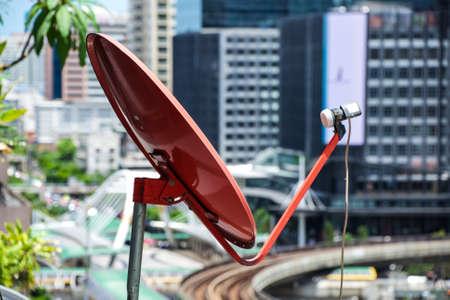 radar: Red Cable tv radar Stock Photo