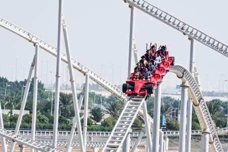 ABU DHABI, UAE - November 7,2015: Formula Rossa, the fastest roller coaster in the world in Ferrari World amusement park at Yas Island - Abu Dhabi UAE.