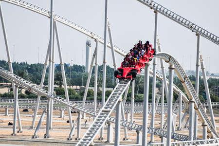 ABU DHABI, UAE - November 7,2015: Formula Rossa, the fastest roller coaster in the world in Ferrari World amusement park at Yas Island - Abu Dhabi UAE.