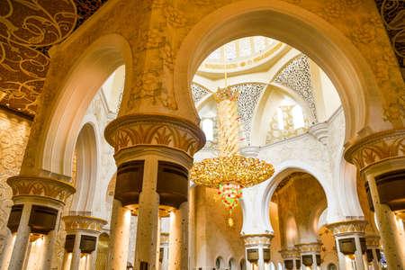 ABU DHABI, UNITED ARAB EMIRATES - NOVEMBER 7  2015: Decorative element in the Sheikh Zayed Grand Mosque in Abu Dhabi. The famous Sheikh Zayed mosque is the largest mosque in UAE.