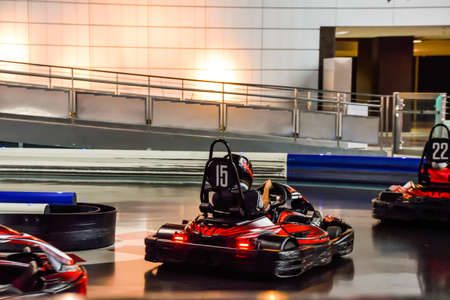 ABU DHABI, UAE - November 7,2015: gokart ride in Ferrari World at Yas Island in Abu Dhabi.Ferrari World is the largest indoor amusement park in the world.