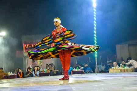 Dubai, United Arab Emirates - November 6, 2015: Arab dancer performing a