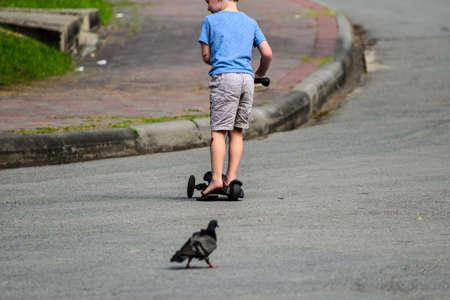 Le côté arrière de Little boy joue son scooter dans un parc public.