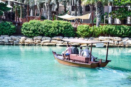 Dubai, United Arab Emirates -November 6, 2015: View of the Souk Madinat Jumeirah.Madinat Jumeirah encompasses two hotels and clusters of 29 traditional Arabic houses