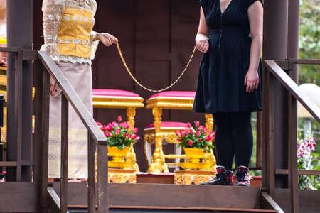 barring: Bangkok,Thailand- January 16, 2016 : Thai Traditional Wedding demonstration  in Thailand Tourism Festival 2016 at Lumpini Park, Bangkok ,Thailand