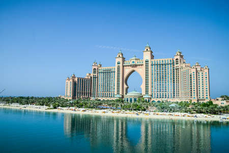 Dubai, United Arab Emirates -November 5, 2015: Atlantis hotel  in Dubai, UAE. Atlantis the Palm is a luxury 5 star hotel built on an artificial island Stok Fotoğraf - 84639120