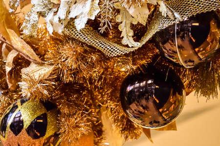 stock photo xmas tree ornaments on gold xmas tree