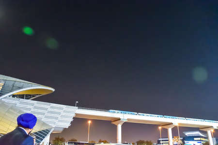 Dubai, United Arab Emirates -November 5, 2015:  Dubai skytrain station. Editorial