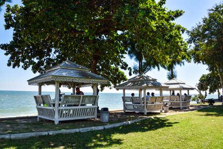 Chaam,Huahin, Thailand -November 21,2015: Beach at Chaam - Huahin beach Thailand in the morning. Editorial