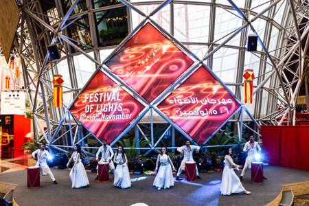 Abu Dhabi, United Arab Emirates -November 7, 2015: Festival of lights show  in Ferrari World ,Abu Dhabi Editorial