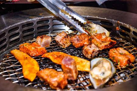 Korean BBQ grill at the  restaurant.