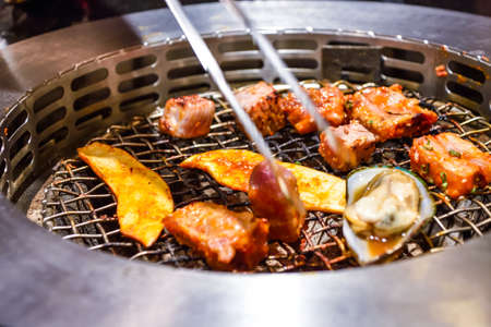 Korean BBQ grill at the  restaurant.