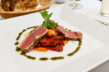 Margret  de canard (Seared Duck Breast) with ratatouille : French food. Stock Photo