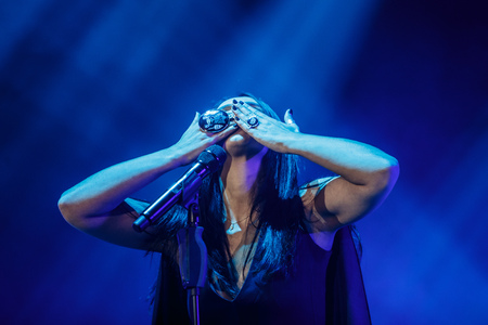 5 december: KYIV, UKRAINE - DECEMBER 5: The famous Ukrainian singer Jamala sends a kiss with hands presenting her new album Podykh (Breath), 5 December 2016, International Center of Culture and Arts (October Palace) Editorial