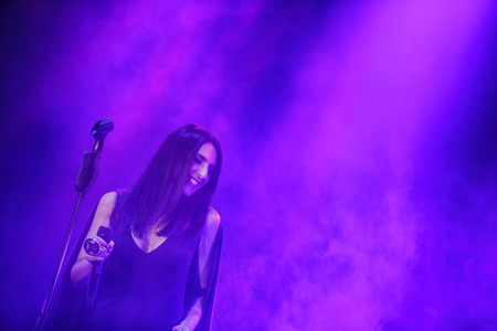 '5 december': KYIV, UKRAINE - DECEMBER 5: The famous Ukrainian singer Jamala smiles with eyes closed presenting her new album Podykh (Breath), 5 December 2016, International Center of Culture and Arts (October Palace) Editorial