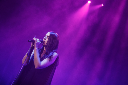 executor: KYIV, UKRAINE - DECEMBER 5: The famous Ukrainian singer Jamala sings with eyes closed presenting her new album Podykh (Breath), 5 December 2016, International Center of Culture and Arts (October Palace)