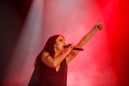 executor: KYIV, UKRAINE - DECEMBER 5: The famous Ukrainian singer Jamala gives thumbs up presenting her new album Podykh (Breath), 5 December 2016, International Center of Culture and Arts (October Palace)