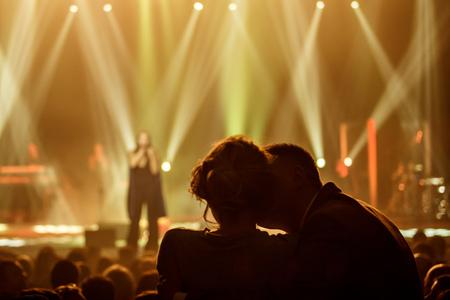 5 december: KYIV, UKRAINE - DECEMBER 5: Love couple at concert of the famous Ukrainian singer Jamala, 5 December 2016, International Center of Culture and Arts (October Palace)